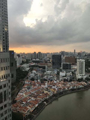 A view from one of the conference rooms looking out over Boat Quay