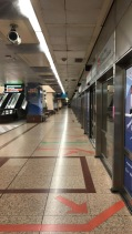 The MRT is quiet at night. Notice the red and green directional lines... they are very orderly here!